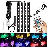 AMBOTHER 4 en 1 LED RGB Lampe Intérieur de Voitures Télécommande sans Fil Ruban Bande Néons Lumière Kit Multicolor pour Décoration Atmosphère Auto avec Allume-Cigare 12V