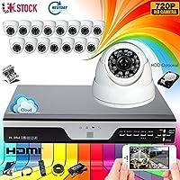 1280 x 720 P, HD 720P, DVR 16CH-Videocamera di sicurezza con 1 Megapixel, impermeabile, 16, 720P, visione notturna, con fotocamera CCTV System (P2P Technology/-E servizio di Cloud, scansione codice QR