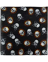 Black Fire Skull And Skull & Crossbones Bandana Bandanna Bikers Scarf