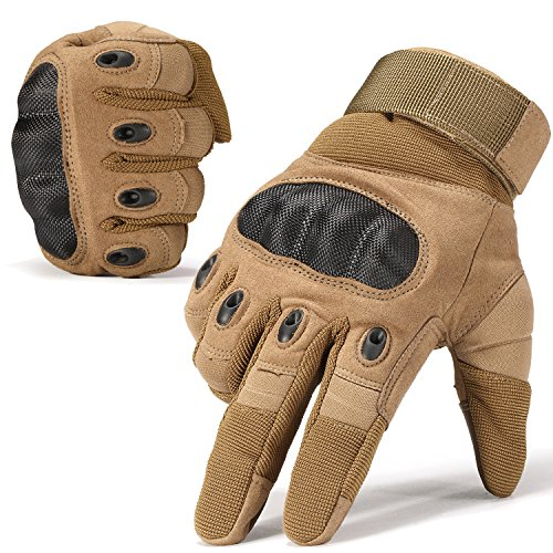 WTACTFUL Touch Screen Hard Knuckle Motorcycle Full Finger Gloves for Cycling Motorbike ATV Hunting Hiking Riding Climbing Operating Work Sports Gloves Brown Size X-Large