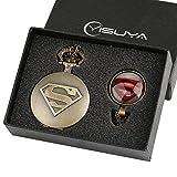 Superman Shield logo orologio da tasca per ragazzo uomo set regalo retro bronzo Cool 3D Superhero orologi con cupola in vetro ciondolo collana