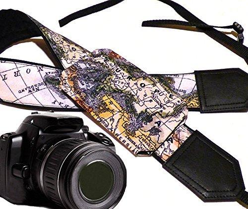 Weltkarte Kameragurt mit Objektiv Tasche. Europa, Asien, Amerika. Schwarz DSLR/SLR Kamera Gurt. Robust, leichtes und gut gepolstert Kamera Strap. Code 00252 (Weltkarte Cap)