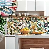 wall art (Confezione da 20 pezzi) Adesivi per piastrelle con effetto ceramica a rilievo formato 15x15 cm - PUV0004 Decorazione adesive effetto ceramica per bagno e cucina Stickers design - Pamplona