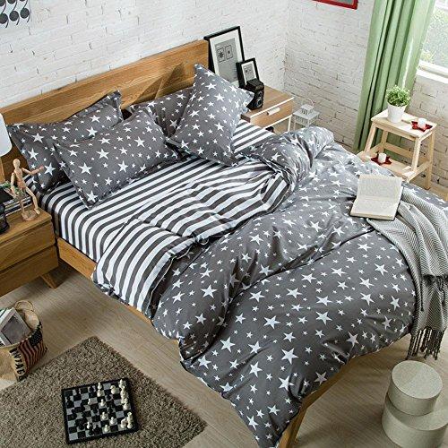Einfache Studenten Schlafzimmer Set Einzel Doppel Baumwolle Doppelbettbezug Set 4 Stücke 1 Bettbezug, 1 Bettwäsche, 2 Kissenbezüge , C , 220X240Cm