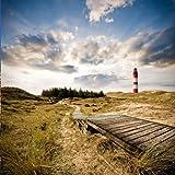 wandmotiv24 Fototapete Vliestapete Leuchtturm mit Dünen KT327 Größe: 300x260cm Meer Strand Weg