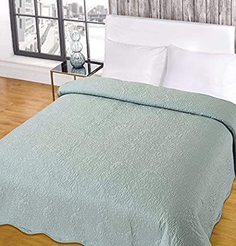 Highams Embroidered Bedspread Quilted Comforter Blanket Throw Duck Egg 200 x 200cm