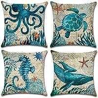 JOTOM funda de almohada de lino de algodón suave sofá funda de cojín del coche decoración de la cama 45 x 45 cm, juego de 4 (Animal marino 2)