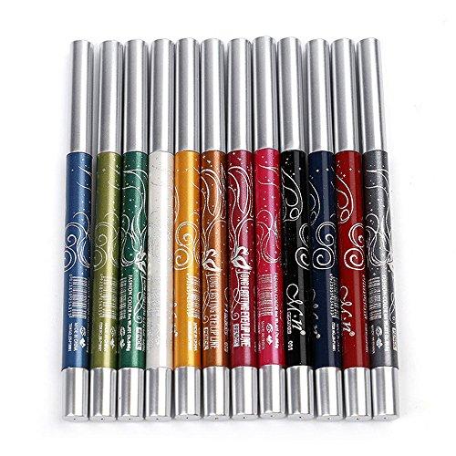 SMILEQ Menow 12 Farben Langlebige Lidschatten Eyeliner Lip Liner Pen Make-Up Schönheit (ONE, Schwarz)