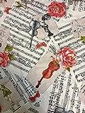 Musik Blume Noten Vorhang Polster Baumwolle Stoff