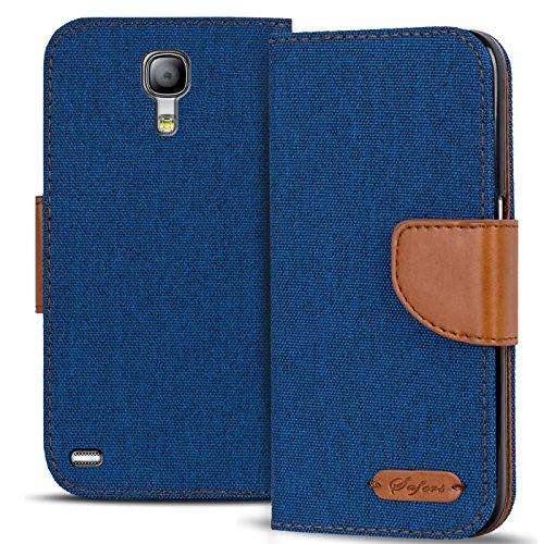 Conie Textil Hülle kompatibel mit Samsung Galaxy S4, Booklet Cover Blaue Handytasche Klapphülle Etui mit Kartenfächer