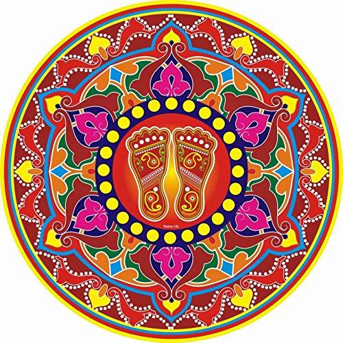 Diwali Festive Rangoli Pattern Floor Sticker PVC Vinyl Floor Art Beautiful Rangoli
