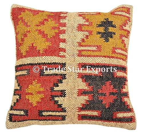 Trade Star Exports Housse de Coussin Kilim Faite à la Main 18 x 18 cm