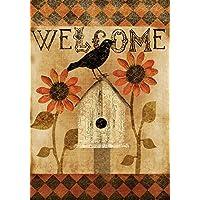 Toland - Harlequin Crow - Decorative Welcome Fall Autumn Rustic Bird USA-Produced Garden Flag