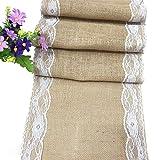 Tela de lino rectangular mantel de encaje funda para mesa escritorio blondas para boda fiesta decoración de muebles, 30x 275cm
