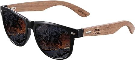 Amexi Bambus-Sonnenbrille mit Brillen-Etui, Schraubenzieher und Tasche - polarisiert - UV400 - verschiede Farben u...