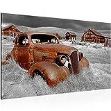 Bild Auto Oldtimer Wandbild Vlies - Leinwand Bilder XXL Format Wandbilder Wohnzimmer Wohnung Deko Kunstdrucke 70 x 40 cm Braun 1 Teilig -100% MADE IN GERMANY - Fertig zum Aufhängen 602114b