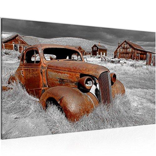 Bild Auto Oldtimer Wandbild Vlies   Leinwand Bilder XXL Format Wandbilder  Wohnzimmer Wohnung Deko Kunstdrucke 70 X 40 Cm Braun 1 Teilig ...
