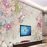 LHDLily 3D Tapete 3D Wallpaper Fresken Wandbilder Verdicken Schön Retro Perle Blume Schmetterling Pearl Tv Vertrag Große Tapeten Home Decor 150Cmx100Cm