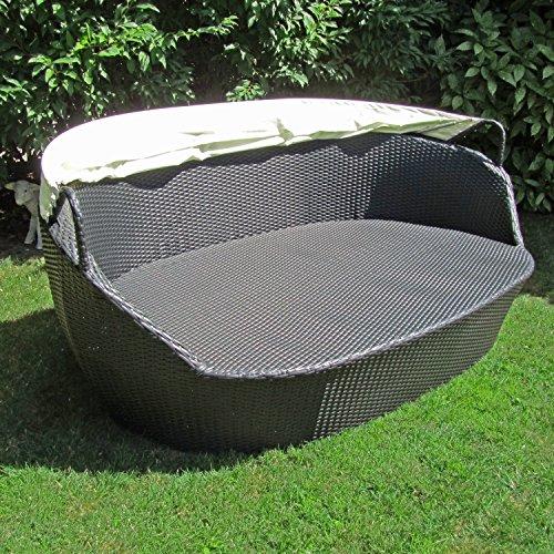JOM Sonneninsel, Polyrattan Garten Lounge, Chill-Out Sofa mit Baldachin (195x115x140 cm), schwarz, Aluminiumgestänge, mit Sitzpolster und 6 Kissen beige - 6