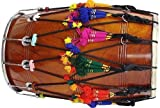 SG Musical Mango Wooden Punjabi Bhangra Dhol Natural Finish Bhangra Dhol Finish With Carry Bag