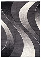 "Area Rugs For Living Room Bedroom Dark Grey Modern Waves Pattern Size S - XXL 200 x 300 cm (6ft7"" x 9ft11"") from TAPISO RUGS UK"