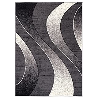 Tapiso Area Rugs For Living Room Bedroom Dark Grey Modern Waves Pattern Size S - XXL 220 x 300 cm (7ft3 x 9ft11) 80 x 150 cm (2ft7 x 4ft11)