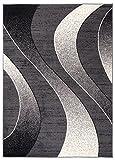 Carpeto Rugs Tapis Salon Gris foncé 140 x 200 cm Moderne Vagues/Monaco Collection