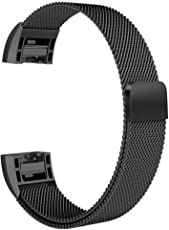 House of Quirk Magnetic Strap Compatible for Fitbit Charge 2 Milanese Band Mesh Metal Replacement Bracelet - (Black)