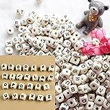 200 x Gemischte Holz A-Z Alphabet Buchstaben Würfel Perlen DIY Handwerk 10x10mm