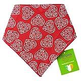 Dimples Hundehalstuch - Romantik Herzen Rot (Handgemacht für alle Größen und Rassen) 40cm