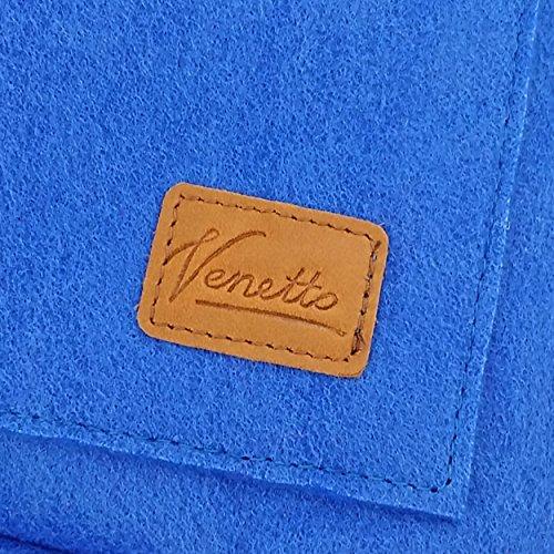 Venetto Sportrucksack Rucksack Sack Turnbeutel Beutel aus Filz für Sport, Fußball, Schule, Wandern, sehr leicht mit Schuhfach backpack unisex (Grün dunkel) Hellblau