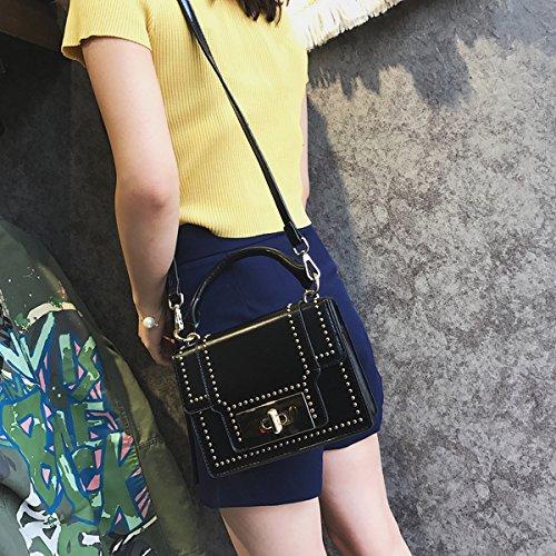 art und Weise Niet kleine quadratische tasche Weibliche Schulter kuriertasche handtasche Schwarz