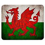 Flagge Wales 1, Weltkarte, Designer Leder Mousepad Unterlage Mauspad Maus-Pad Stark Anti Rutsch Unterseite für Optimalen Halt mit Lebhaftes Motiv Kompatibel mit allen Maustypen (Kugel, Optisch, Laser)Ideal für Gamer und für Grafikdesigner.
