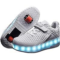Unisex Bambino LED Lampeggiante Doppia Ruota Outdoor Ginnastica Skateboard Sneakers Sportive Scarpe Ragazze e Ragazzi…