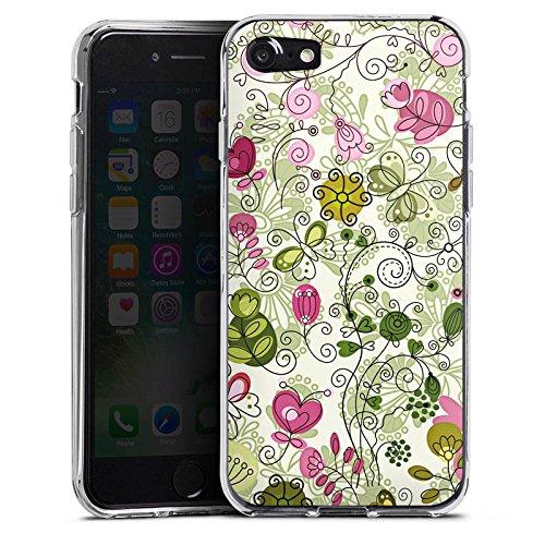 Apple iPhone X Silikon Hülle Case Schutzhülle Schmetterlinge Blumen Ranken Silikon Case transparent