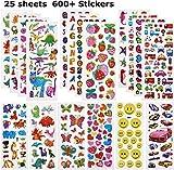 Willingood Pegatinas Infantiles Las Calcomanías Puffy 3D para niños [600 Stickers Incluyen Calcomanías de Dinosaurios, Calcomanías de Autos Entre Otras, Rellenos de Bolsas para Fiestas de niños