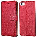 Peakally Cover per iPhone 6/6S/7/8, Flip Caso in PU Pelle Premium Portafoglio Custodia per iPhone 6/6S/7/8, [Kickstand] [Slot per Schede] [Chiusura Magnetica]-Rosso
