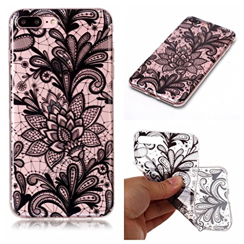 Custodia per iPhone 8 Plus, Custodia per iPhone 7 Plus ,JIENI Trasparente Protezione Morbido Art Datura fiori TPU Bumper Cover Silicone Flessibile Case per iPhone 8 Plus et iPhone 7 Plus BF21