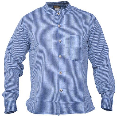 Little Kathmandu Herren Gestreifte Grandad Nepalesische Sommer Hemden Blau  - Blau