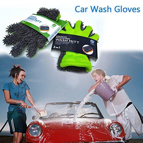 nille, 5Finger-Waschhandschuhe Waschen Auto-Handschuhe, Handschuhe, innen und außen-Reinigungs-Tool-Haushalt, Sandwich Mesh-Loch mit Pinsel, Tücher ()