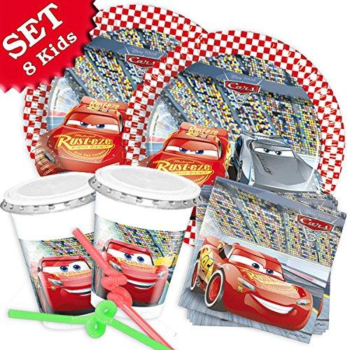 CARS 3 Geburtstag-Deko-Set, 52-teilig zum Kindergeburtstag Jungen und Mädchen und CARS Motto-Party für 8 Kids