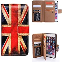 Bfun Packing iPhone 7 Plus Case,Bcov Retro Union Jack Flag 9 Slot Leather Wallet Cover Case For iPhone 7 Plus