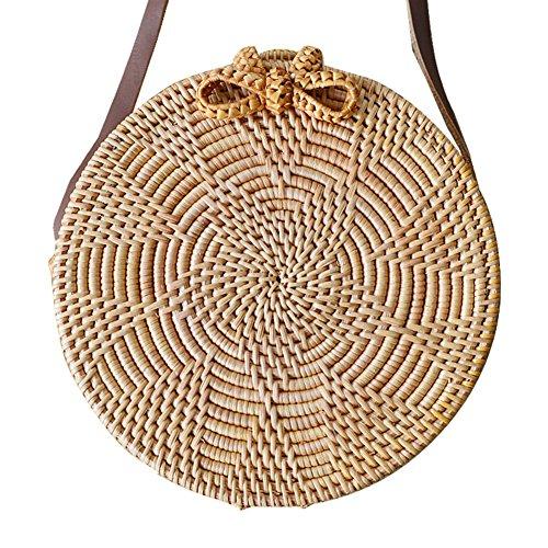 HUVE Sonnenblume Muster Strandtasche Retro kreisförmige Stroh geflochtene Tasche Modische Storage Home Bag