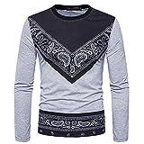 JYJM Herren Herbst afrikanischen Print langärmeligen Rundkragen Sweatshirts Top Bluse Freizeithemd