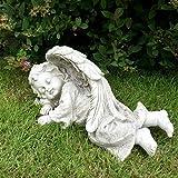 Schlafendes Baby Cherub Engel in Flügel Garten Statue Gedenk Stein