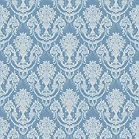 MyTinyWorld Dolls House Miniature Duck Egg Blue Chandelier Damask Wallpaper