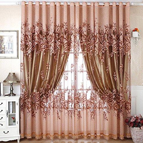 1*2.5 Vorhänge Tüll-Vorhang für wohnzimmer schlafzimmer kinderzimmer (Coffee) (Ohne Innene Vorhang)