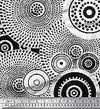Soimoi schwarz Cotton Jersey Stoff Runde Geometric Stoff