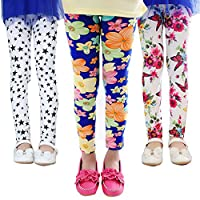 Z-Chen 3 Pack Kids Girls Pants Floral Pattern Leggings, Color A, 6-7 Years