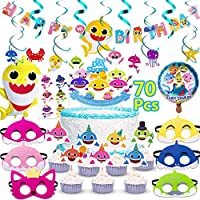 Baby Shark Party Supplies 70Pcs,DDMA Birthday Party Decorations for kids, Includes Cake topper, Cupcake toppers, Shark Balloons, Banner,Shark masks,Swirl Decorations and Shark stickers